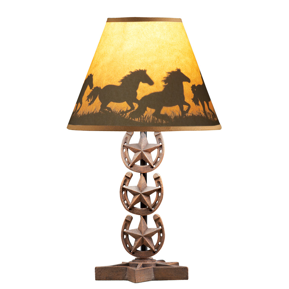 Genial Western Horse Tabletop Lamp Shade With Horseshoe Base