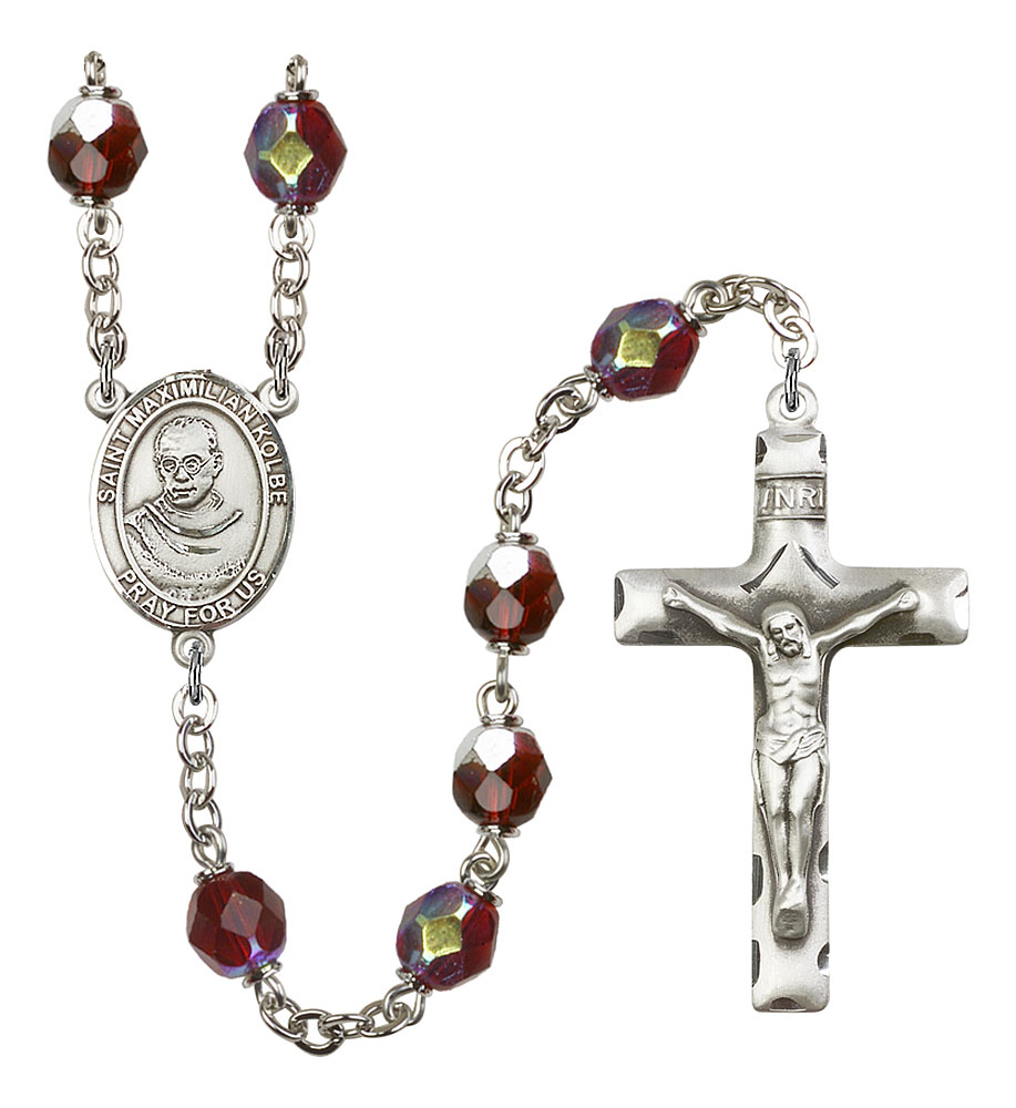 18-Inch Rhodium Plated Necklace with 6mm Garnet Birthstone Beads and Sterling Silver Crucifix Charm.