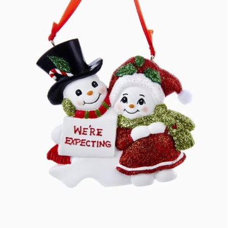 Snowcouple We're Expecting Resin Family of 2 Christmas Ornament for Personalization ()