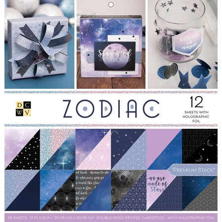 """DCWV Double-Sided Cardstock Stack 12""""X12"""" 36/Pkg Zodiac, 12 W/Holographic Foil"""