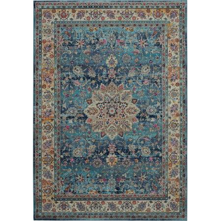 Nourison Vintage Kashan Bordered Blue Area Rug