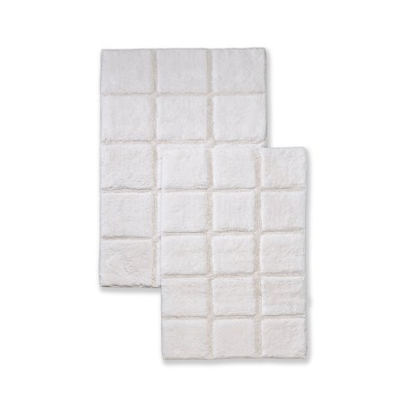Superior Luxurious Cotton Non-Skid 2Pc Checkered Bath Rug Set (Luxurious Bath Rug)