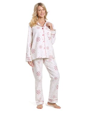 Product Image Women s Cotton Flannel Pajama Set - Lovely Snowflakes  White-Red - X-Large eadb7251d