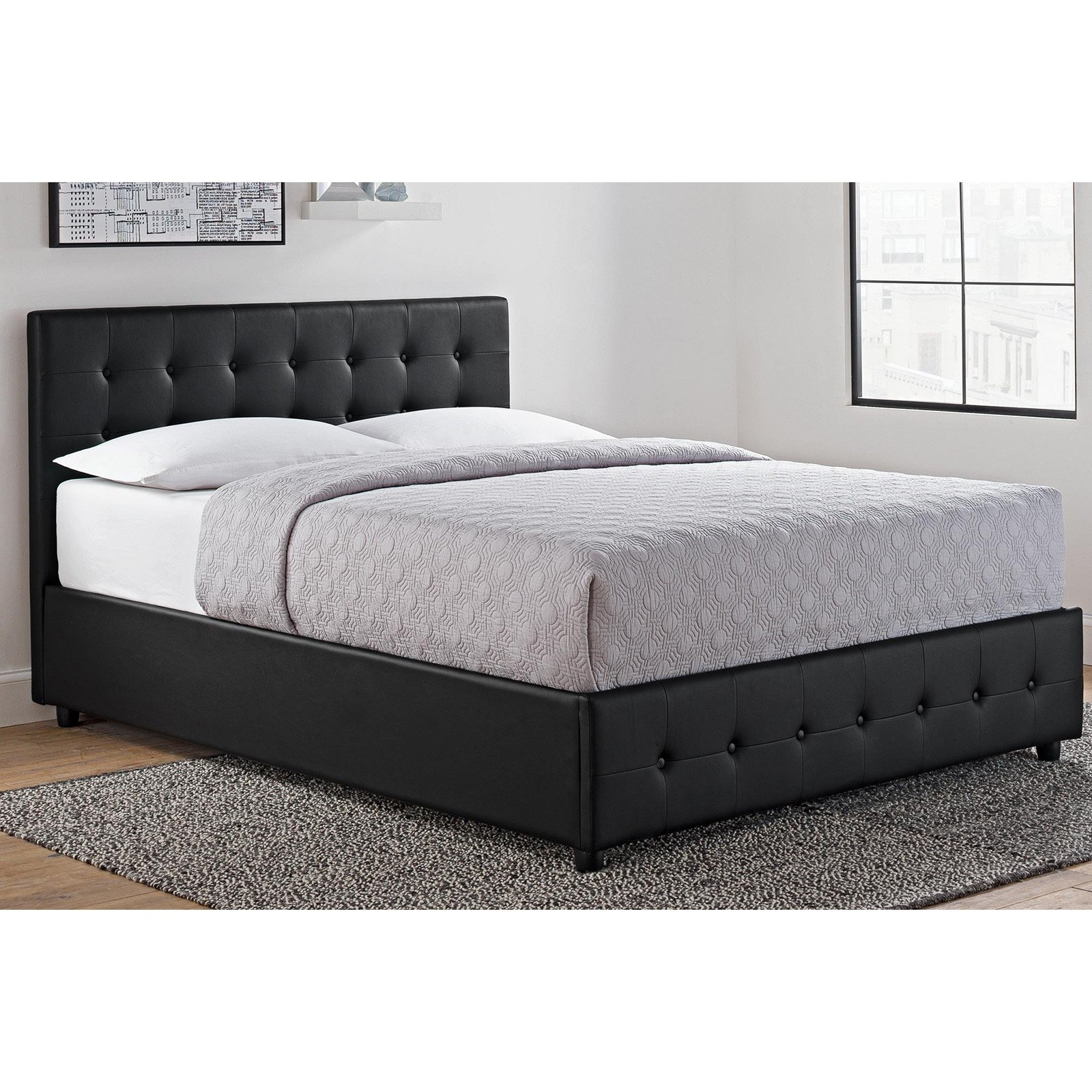 DHP Cambridge Upholstered Bed with Storage, Black, Multiple Sizes