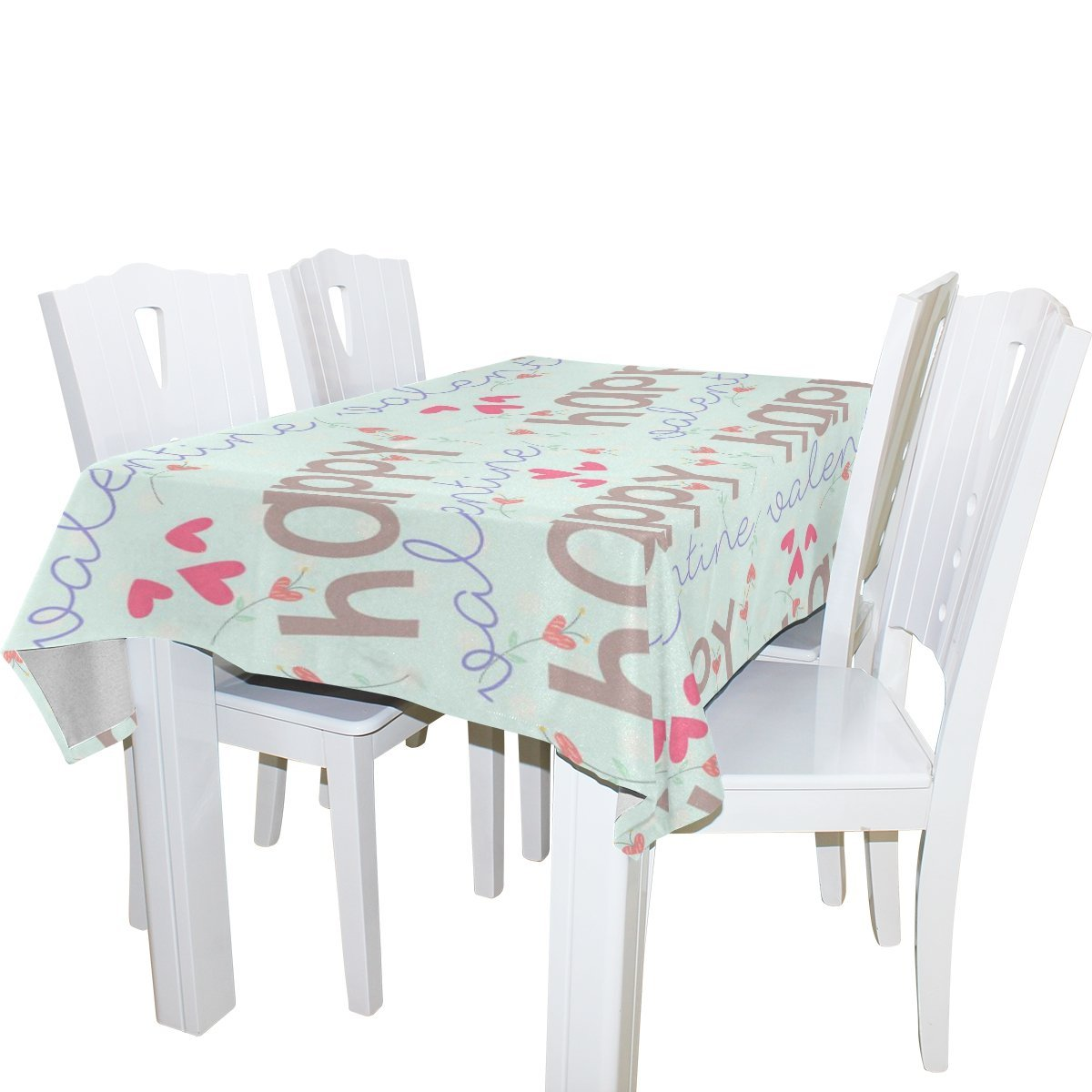 POPCreation Happy Valentine Tablecloths Love Heart Table Top Decoration  52x70 Inches