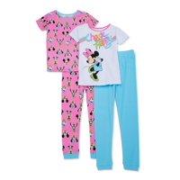 Disney Minnie Mouse Girls 4-10 Tight Fit Cotton 4-Piece Mix & Match Pajama Set