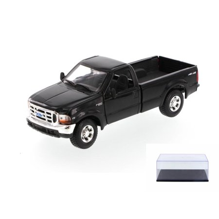 Diecast Car & Display Case Package - 1999 Ford F350 Super Duty Pick-up Truck, Black - Showcasts 34937 - 1/27 Scale Diecast Model Toy Car w/Display Case