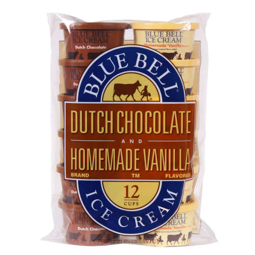 Blue Bell Dutch Chocolate & Homemade Vanilla Flavored Ice Cream Cups, 12 ct