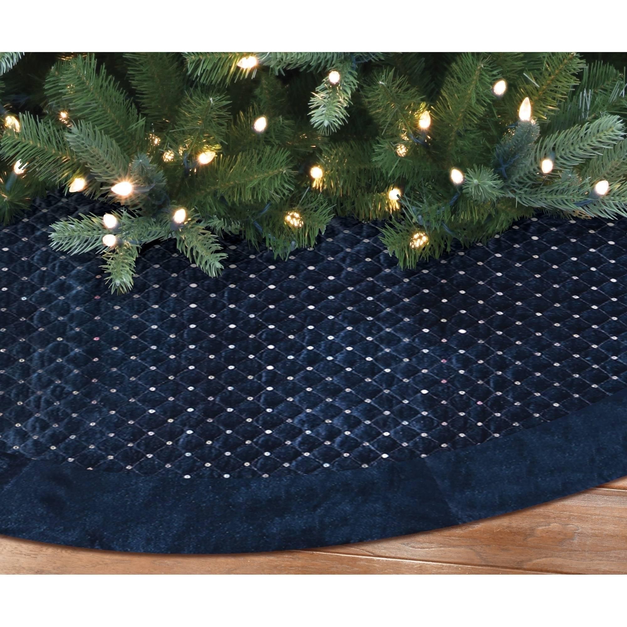Holiday Time Christmas Decor 48 Quilted Velvet Tree Skirt With Silver Sequins And Velvet Border Blue Walmart Com Walmart Com