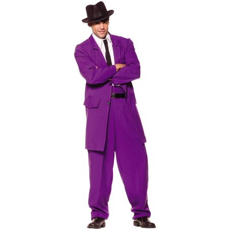 1920s Gangster Costumes (Zoot Suit Mens 1920's Purple Gangster Mobster Suit Halloween)