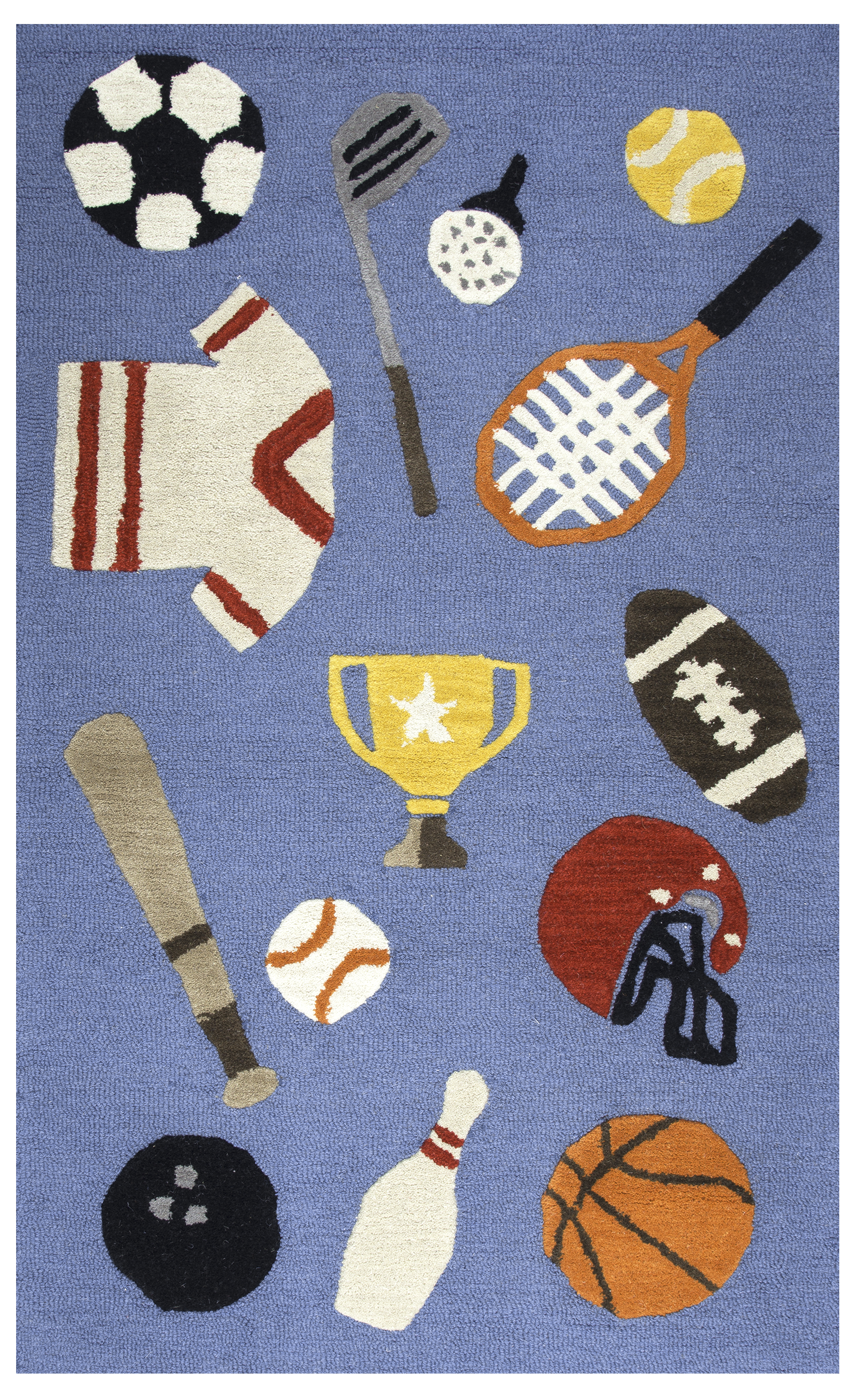 Rizzy Home Play Day Hand Tufted Sports Blue Kids Area Rug