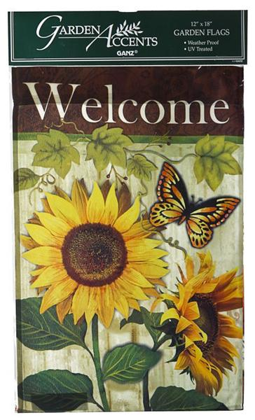 12 x 18 Inch Garden Accents Butterfly & Sunflower Welcome Lawn Flag by