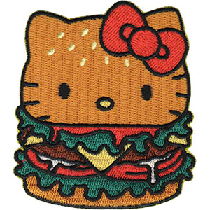 "HELLO KITTY BURGER, Officially Licensed, Iron-On / Sew-On, Embroidered PATCH - 2.7"" x 3"""