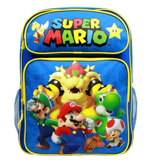 "Backpack - Nintendo - Super Mario Group Blue 16"" School Bag New SD28260"