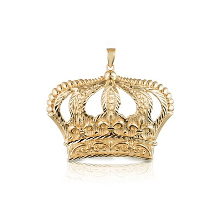 Diamond Crown Charm - 10k Yellow Gold Open Big Crown Charm Pendant with Diamond Cut Design for Men & Women
