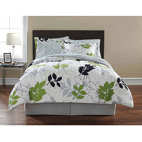 Mainstays Leaf Toss Complete Bedding Set, Black/Green Floral