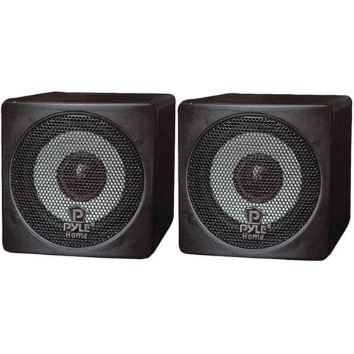 """Pyle Home PCB3BK 3"""" 100W Mini-Cube Bookshelf Speakers, Black"""