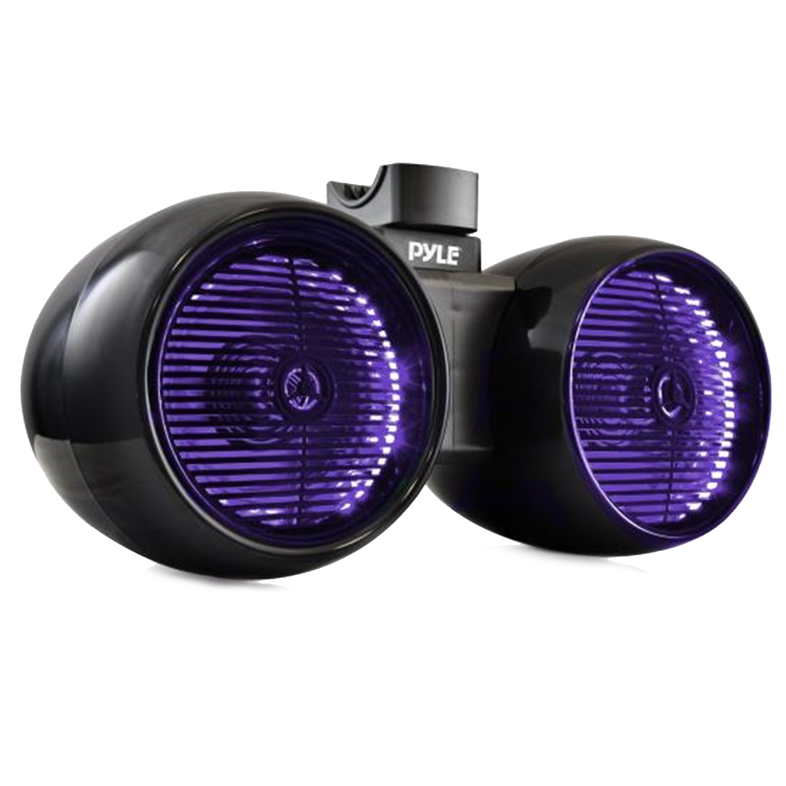 """Dual Marine Tower Speakers, Wakeboard Water Resistant Sound System, Built-in Programmable Multi-Color LED Lights, 600 Watt 8"""" Tower Speakers, Remote Control, Black"""