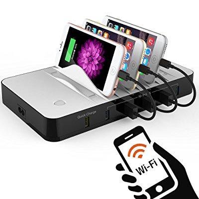 Charging Station  Wifi Smart Usb Charging Station Dock   Organizer With 5 Port  1 Qc 3 0 Port  4 Retractable Cable  Best For Smartphones  Tablets   Other Gadgets