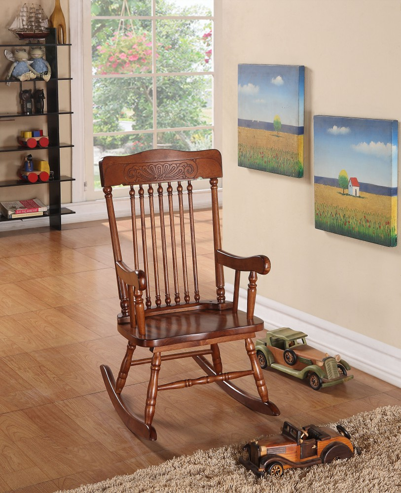 Simple Relax 1PerfectChoice Kloris Collection Youth Kids Children Wood Cute Rocking  Chair In Tobacco Finish