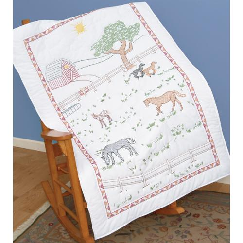 "Stamped White Lap Quilt Top 38""X58""-Field Of Horses"