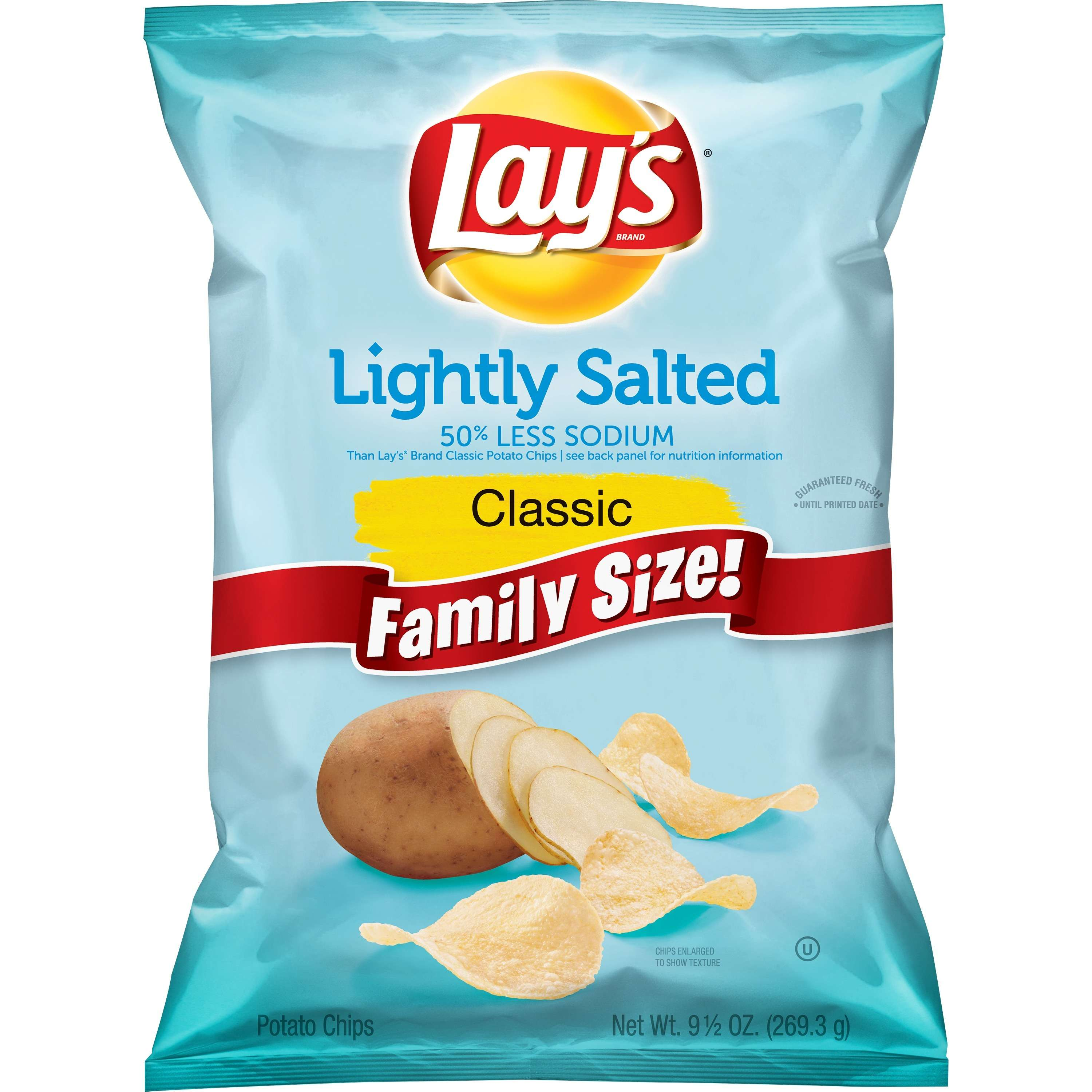 Lay's Lightly Salted Potato Chips, Family Size, 9.5 oz Bag