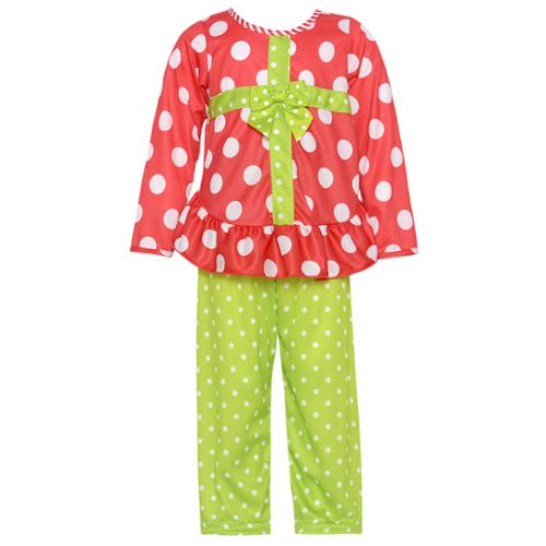 Laura Dare Red Green Dot Ribbon Present Pajama Set Girl 2T-6X
