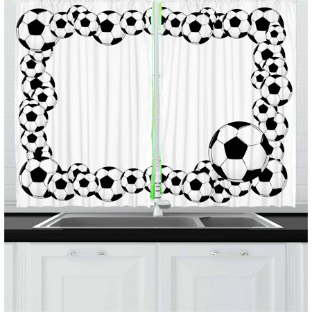 Soccer Curtains 2 Panels Set Monochrome Football Frame Pattern Design Abstract Illustration Playing Sports Game