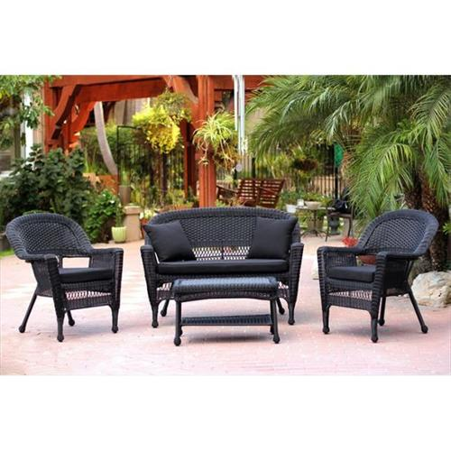 Jeco 4pc Black Wicker Conversation Set - Black Cushions