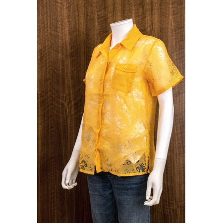 - SALON STUDIO Size S Womens 2pc Yellow Button Down Sheer Blouse Tank Top Camisole