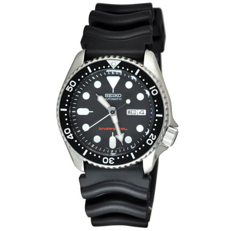 Seiko Black Strap (Men's Diver's Automatic Black Dial Rubber Band Watch SKX007K )