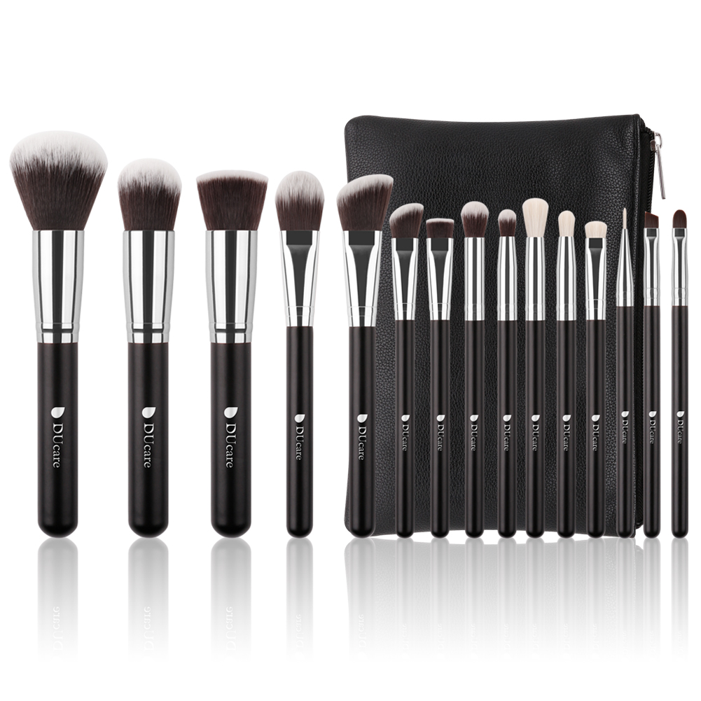 DUcare 15 Pcs Makeup Brushes Set Natural Goat Synthetic Professional  Cosmetic Foundation Powder Blending Contour Lip EyeShadow Brush with Leather Case Bag