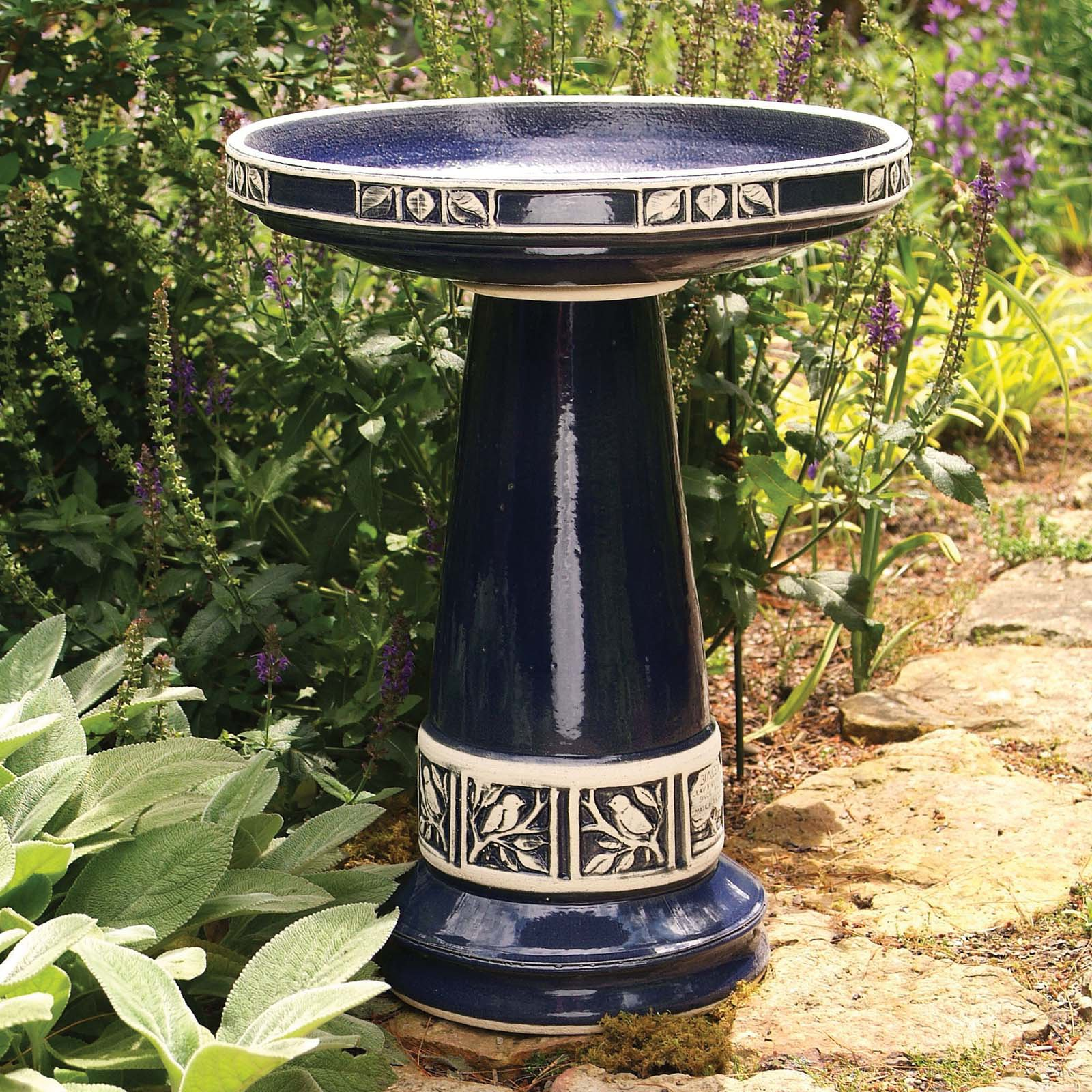 Burley Clay Zanesville Glazed Cobalt Blue Ceramic Bird Bath