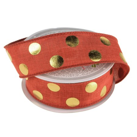Gold Dot Wire - Metallic Dots Wired Canvas Ribbon, 1-1/2-Inch, 10 Yards, Red/Gold