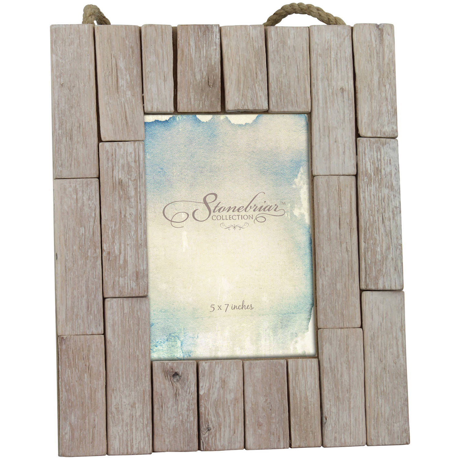 "Driftwood 5"" x 7"" Photo Frame with Rope Hanger"