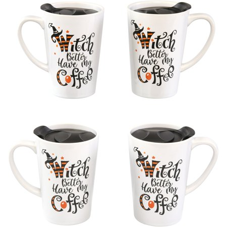 Way to Celebrate! Witch Stoneware Coffee Mug with Lid Set, 4 Count (Four Coffee Mugs)