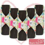 Heart Felt Reusable Sanitary Pads XL (Pack of 5, Floral Print)