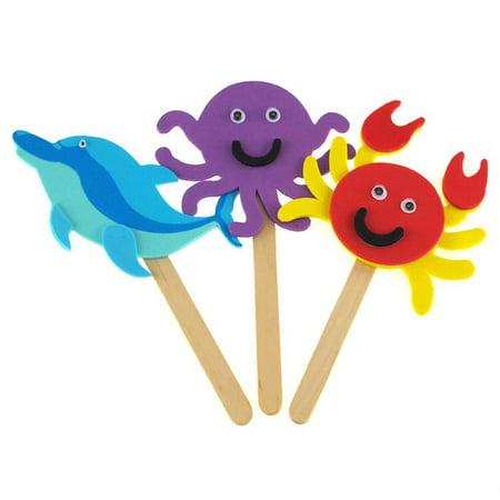 diy foam character stick puppets - sea - Diy Puppets