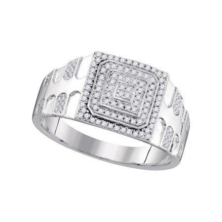 10K White Gold 0 33Ctw Shiny Diamond Fashion Center Square Micro Pave Ring
