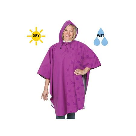 Women's Color Change Rain Poncho - Moisture Activated Pattern Appears When Wet - Fuchsia Purple (Purple Poncho)