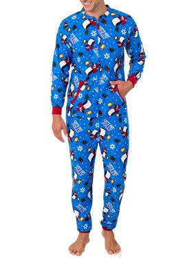 Fruit of the Loom Men's Holiday Print Super Soft Microfleece Union Suit