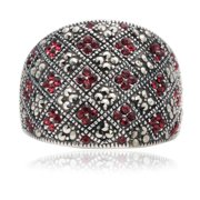 Aurora Home  Siam and Marcasite Patterned Ring