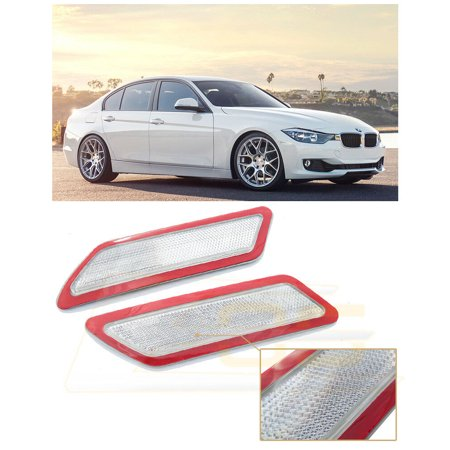 Extreme Online Store for 2012-2015 BMW F30 F31 3-Series Base Bumper Model EOS Factory Style Crystal Clear Front Bumper Fender Reflector Side Marker Lights Turn Signal Lamps