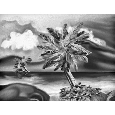 canvas print beach palm sea tropical nature painting sunset stretched canvas 10 x 14 ()