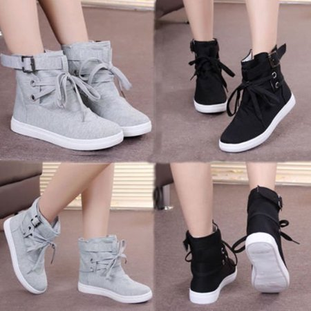 Womens Casual Buckle Strap Hiking Flats Lace Up High Top Sports Sneakers Shoes