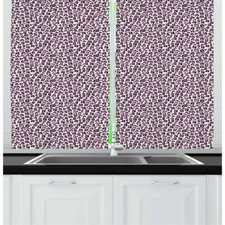 Leopard Print Curtains 2 Panels Set, Pink and Black Colored Girlish Pattern Safari Savannah Wildlife Theme, Window Drapes for Living Room Bedroom, 55W X 39L Inches, Pink Black White, by (Wildlife Pin)
