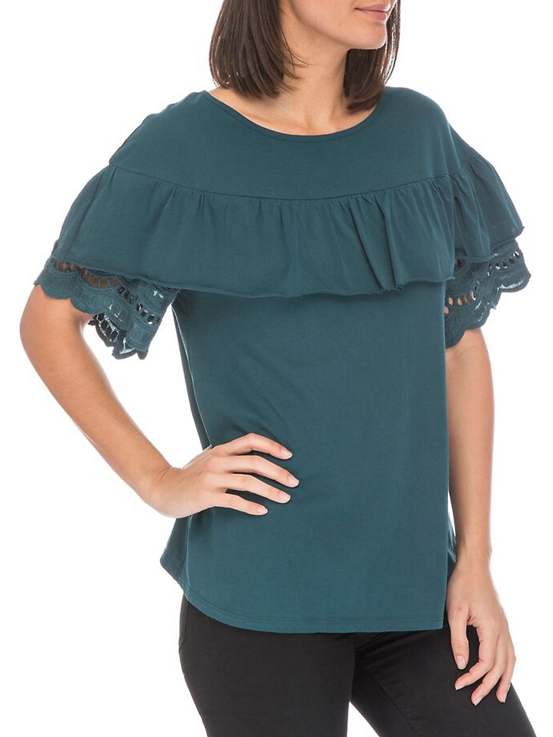 Brynlee Lace-Trimmed Cotton Tee