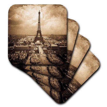 3dRose The Paris Exposition 1900 Eiffel Tower Sepia, Soft Coasters, set of - Paris Coaster Set