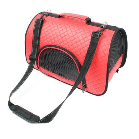 Leather Dog Carrier - Travel Foldable Soft Faux Leather Mesh Zipper Pocket Pet Dog Carrier Bag Red