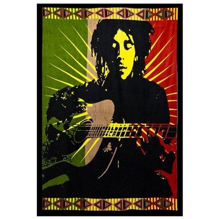 Bob Marley Wall Hangings (Bob Marley Tapestry Bob Marley Guitar Jammin Music Tapestry Poster Rasta Jamaican Wall Hanging - HUGE, 60